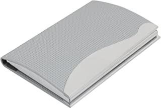 Uxcell 仿皮纹理格子图案名片盒,灰色