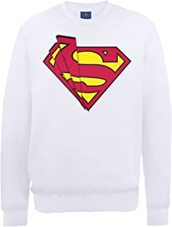 DC Comics 男式 DC0000936 官方超人卫衣标志圆领长袖运动衫