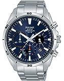 Pulsar 男式数字式太阳能手表 不锈钢表带 PZ5057X1