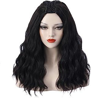 DUDUWIG 女士女孩黑色角色扮演假发长蓬松服装假发头上两个辫子,包括假发帽(成人/儿童)