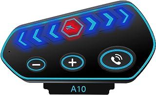 A10 Pro 摩托车蓝牙耳机,带 HiFi 声音,2600mAh 电池,双 DSP CVC 降噪,头盔蓝牙音箱带 LED 灯,IP67 防水,安装/使用,蓝牙 5.0