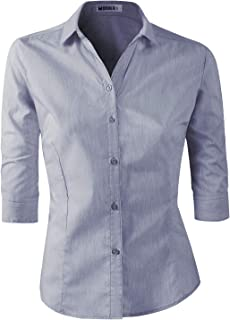 CLOVERY 女式正装 3/4 袖简约修身系扣衬衫