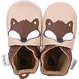bobux BBG 4161婴儿鞋子带 GIANT 狐狸设计浅灰黄