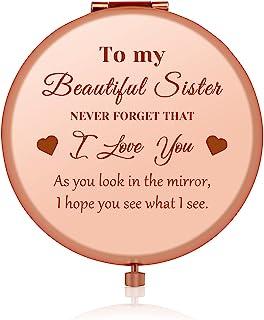 姐妹礼物兄弟生日礼物送给*好的朋友玫瑰金紧凑镜子 Bestie BFF 感恩节礼物 送给法律姐妹姐妹 友谊礼物