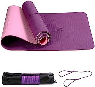 LURICO 瑜伽垫,TPE 环保防滑健身垫,瑜伽普拉提运动垫避免膝盖*,非常适合瑜伽、普拉提和健身 - 带肩带和便携包(183 x 61 x 0.6 厘米)