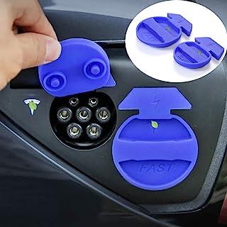HO2880Y Tesla 充电端口防水防尘塞保护套硅胶造型装饰配件 - 适用于 Tesla 型号 3(2 件) 蓝色 HOLDCY-TSL0829