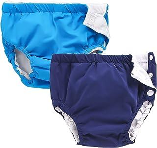 IIjnUhb 游泳尿布 婴儿可重复使用 2 件装,可水洗裤 0-3 岁男孩女孩游泳课 淋浴礼品