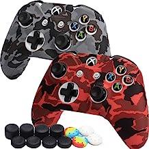 [2 件装] Xbox One Controller COD Skin 高级硅胶保护套,舒适防滑防汗保护套,适用于 Microsoft Xbox One 控制器,迷彩红色和灰色,带拇指握把 x 12
