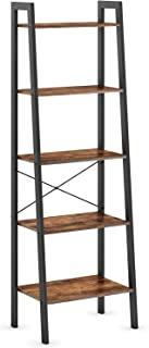 Ballucci 工业梯子架 5 层书架 自由站立式储物架 适用于客厅、办公室、卧室或书房,乡村棕色