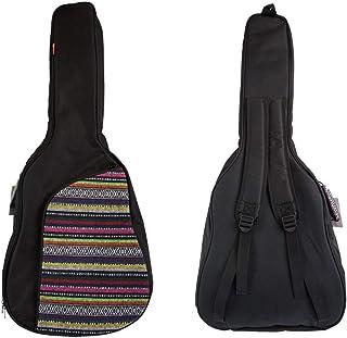 ZTZ 波西米亚原声吉他盒 0.39 英寸(约 1.0 厘米)防水厚海绵衬垫带颈保护枕适用于 40 英寸(约 101.6 厘米)原声经典吉他(波西米亚玫瑰红)