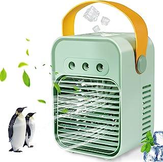 空气冷却器 可充电 办公桌迷雾风扇 3 种风速和 7 色灯 适合家庭 / 办公室 / 宿舍 / 露营 便携式空调