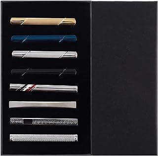 EvmAsaLQ 8 件男士领带夹,黑色金蓝色银色领带夹套装适用于普通领带男士,适合婚礼商务,带礼品盒