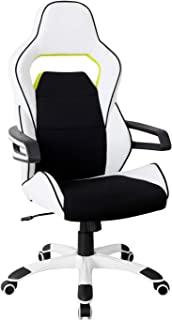 Techni Mobili 行政人体工程学基本赛车风格家居办公椅,常规款,白色