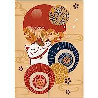 Japanese Noren 门口窗帘挂毯 Maneki Neko 幸运猫门窗帘 Ukiyoe 纸遮阳伞房间隔断家居装饰…