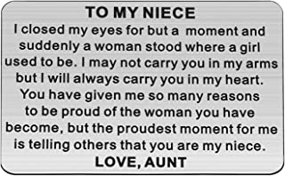 Aunt Uncle Niece 的 PLITI to My Niece 礼物 生日礼物 毕业礼物 鼓励 首饰礼物 I Closed My Eyes for But a Moment Niece 钱包插入