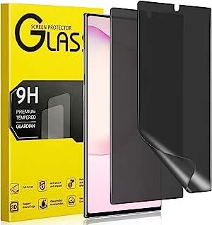 Maxwolf Galaxy Note 10 Plus 隐私屏幕保护膜,[反间谍] [适用手机壳] [全覆盖] [支持屏幕解锁] 三星 Note10+ 优质弹性薄膜 TPU 屏幕保护膜[2 件装]