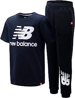 New Balance 男童运动慢跑套装 - 短袖性能 T 恤和运动裤套装(2 件)