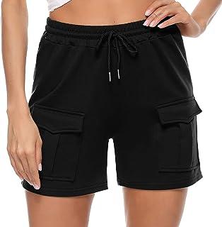 Sykooria 女式短裤睡衣下装棉质休闲短裤健身运动跑步短裤带口袋