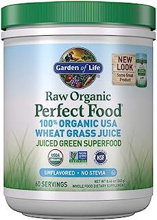 Garden of Life 生命花园 Raw Organic Perfect Food * *美国小麦草汁 - Juiced Green Superfood *粉末,60 份 - 不含甜菊,非转*,素食,无麸质,全食物膳食补充剂