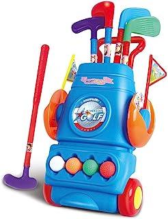 SUPER JOJO 儿童高尔夫球杆套装高尔夫球玩具塑料高尔夫球车带轮球4个球和 2 个练习孔3个彩色高尔夫球棒棒优质高尔夫球手运动玩具套件适合男孩和女孩幼儿室内户外玩具