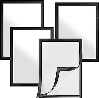 4 件装自粘磁性标志支架 PVC 海报图片通知展示框 A4 文件标志支架适用于窗户、门、墙壁、橱柜(黑色)