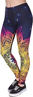 高腰曼陀罗打底裤,奶油色柔软经典时尚 3D 印花打底裤