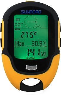 WonVon 数字高度计气压计、数字高度计、IPX4 防水数字气压计 GPS 导航接收器、手持式 USB 可充电数字高度计晴雨表,适用于徒步野营登山
