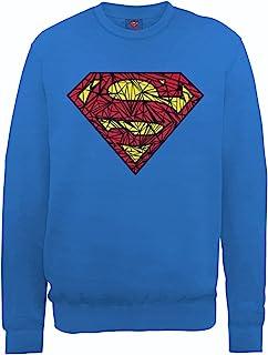 DC Comics 男式 DC0000956 官方超人击球标志圆领长袖运动衫