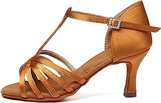JUODVMP 女式舞鞋缎面交际表演萨尔萨探戈拉丁舞鞋型号 VS-WX217