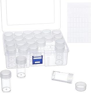 PH PandaHall 钻石装饰盒塑料收纳盒 24 个独立瓶子 塑料珠宝收纳盒 带 64 个贴纸用于种子珠美甲艺术亮片刺绣存储,4.7x3.1x2.2 英寸