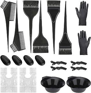 BestMal *工具套装,20 件*工具着色 DIY *沙龙工具套装,*刷和碗套装,手套,耳罩,混合汤匙,发夹黑色美发工具
