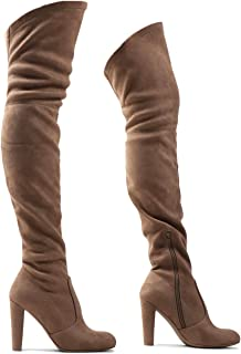 LUSTHAVE Blake Women's Sexy Over The Knee Pullon Boot - Drawstring Stretchy Comfortable Block Heel - Side Zipper