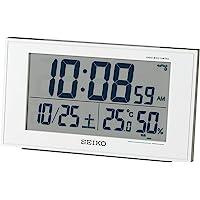 Seiko 精工 台式时钟 01:白色珍珠表身 尺寸:8.5×14.8×5.3 cm 无线电波 数字 日历 舒适度 温度…