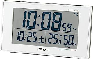 Seiko 精工 台式时钟 01:白色珍珠表身 尺寸:8.5×14.8×5.3 cm 无线电波 数字 日历 舒适度 温度湿度指示 BC402W