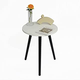 AWASEN 小边桌,现代边桌圆形咖啡桌,适用于卧室客厅,空间小,易于组装,40.64 cm 深 x 40.5 cm 高(白色和黑色)