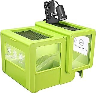 Kacsoo 爬行动物喂食箱 太阳露台 带加热灯 隐藏洞穴 液晶温度计 适用于大部分两栖和冷血动物 龟 变色龙 青蛙 宠物蛇 蜘蛛侠 S