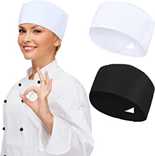 2 件中性款厨师帽厨房烹饪厨师帽透气网眼顶部弹性厨师无檐*帽可调节食品服务烹饪帽成人白色,黑色