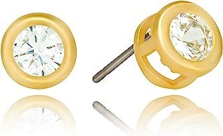 Lifetime Jewelry 方晶锆石镀金镶框纽扣耳钉 24k 镀金