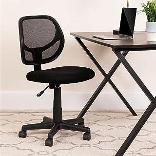 Flash Furniture 低背黑色网眼旋转办公椅,带弧形方形背
