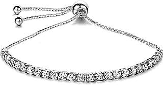 Florence Jewelers 14K 镀金方晶锆石网球手链 - 可调节至 22.86 厘米