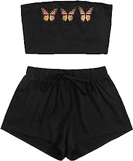 MakeMeChic 女式 2 件套抹胸露脐上衣带弹性腰围短裤套装