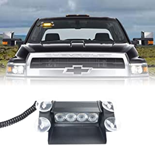 WarningWorx Pulsar 4 *小挡风玻璃 LED 警示灯 – 超亮 LED 拖车灯通用安装 LED 车辆应急灯 – 包括 8 英尺(约 2.8 米)线和点烟器适配器