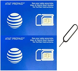 (2 件装)正品 AT&T ATT SIM 卡微型/纳米/标准 GSM 4G/3G/2G LTE 预付/邮费入门套件未激活通话文本数据和热点(+ 免费托盘去除器弹出针钥匙工具)