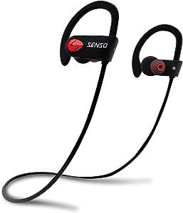 SENSO 蓝牙耳机,*佳无线运动耳机,带麦克风,IPX7 防水高清立体声防汗耳塞,适用于健身房跑步锻炼 8 小时电池降噪耳机