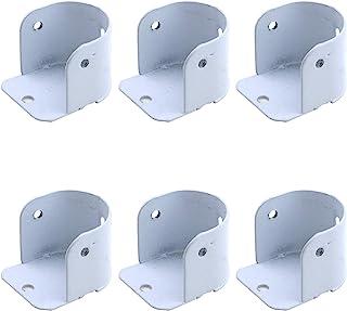 Coshar 6 件套壁橱杆支架窗帘杆套筒带螺丝的法兰杆孔,适合 2.5 厘米直径杆,白色