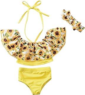女婴泳衣 新生儿泳衣 婴儿格子比基尼 露肩泳衣 夏季沙滩装 带头带