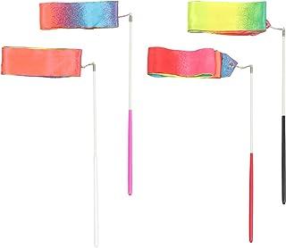 Garneck Dance 丝绸丝带 魔杖 丝带飘带 体操 节奏艺术旋转 丝带棒 适合儿童 成人 舞蹈表演和游戏 4 件