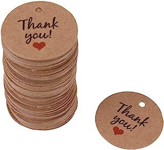 TOPINCN 100 件手工爱心礼品标签 圆形手绘手工礼品标签 婚礼圣诞节悬挂装饰的牛皮纸礼品标签 (谢谢)