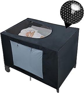 Jonnick 婴儿床遮光罩适用于 Pack N Play - 旅行婴儿床遮阳篷 - 透气网眼睡帘/帐篷,适用于室内或室外便携式游戏床,可阻挡 85% 的光线