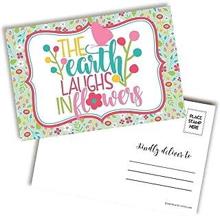 The Earth Laughs In Flowers 明亮多彩春季主题空白明信片,可发送给朋友和家人,10.24 厘米 x 15.24 厘米填写记事簿 AmandaCreation (20)